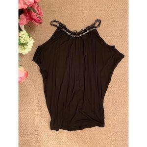 Black cutout shoulder top w/ beaded neckline